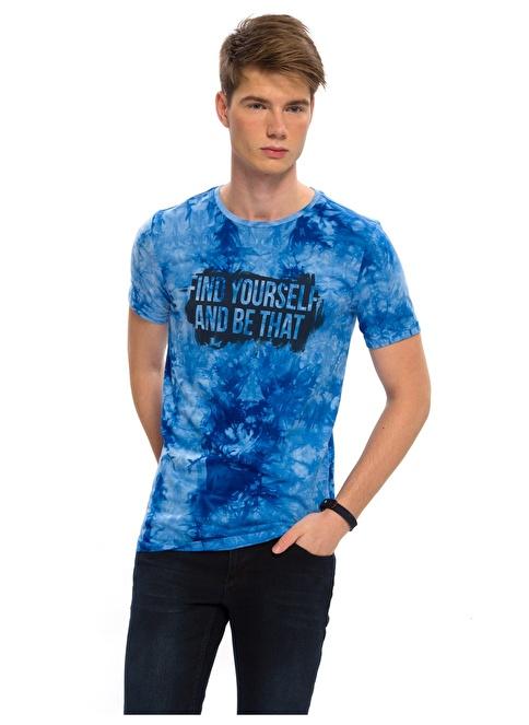 LC Waikiki Baskılı Tişört Mavi